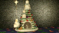 Christmas tree candle and angels, close-up Stock Footage