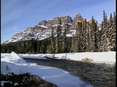 Stock Video Footage of Castle Mountain with Bow River zoom in