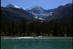 Mountains from Lake travelling shot Stock Footage