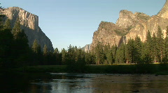 El Capitan and Half Dome in Yosemite Valley, Merced River, National Park Stock Footage