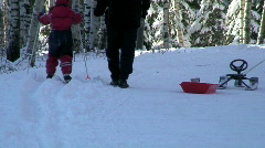 Family recreation in winter Stock Footage