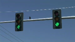 Traffic Signal Changes From Green to Yellow to Red Stock Footage