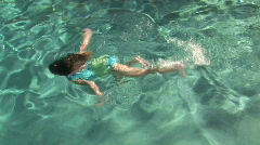 Young Girl Swimming Underwater in Pool, Pt. 1 of 4 - stock footage