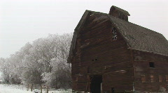 Old barn and frosty trees - stock footage