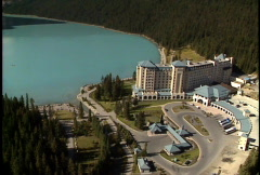 Aerial of Chateau Lake Louise Stock Footage