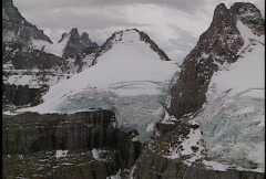 Aerial of Glaciers on Mount Assinboine  Stock Footage