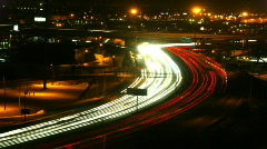 Highway at night timelapse 02 - stock footage