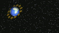 EU stars satellites - stock footage