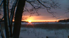 Winter sunrise scenics six Stock Footage