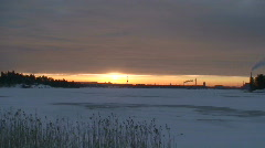 Electric power lines two at sunrise Stock Footage