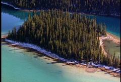 Aerial of Marvel Lake, island circle Stock Footage