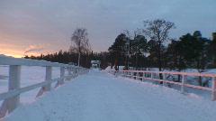 Jogging at winter on sunrise Stock Footage