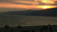 LA Santa Monica Bay sunset Stock Footage