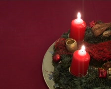 Advent wreath with two candles Stock Footage