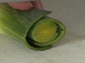 Cutting Leek - close up Stock Footage