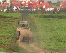 Tractor with dung tank Stock Footage