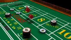 Casino - Dice rolled on Craps table Stock Footage