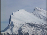 Stock Video Footage of Zoom out from Mount Rundle in winter