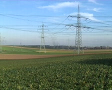 Power line zoom Stock Footage