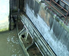 River sluice, lower gate opening Stock Footage
