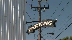 Parking Garage Arrow Sign in Portland, Oregon Stock Footage