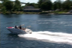 Speed boat on the river - stock footage