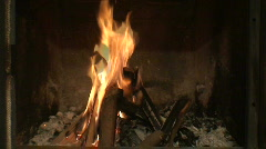 Fireplace burning flames close-up Stock Footage