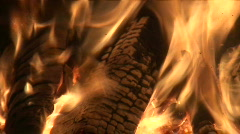 Fireplace burning wood log four, close-up Stock Footage