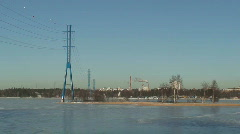 Electric power lines at winter Stock Footage