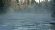 Vapor coming from river at very cold morning Stock Footage
