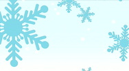 Stock Video Footage of Blue Snowflakes on light Blue HD