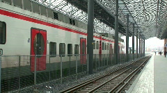Construction of railway station roof, tilt view Stock Footage