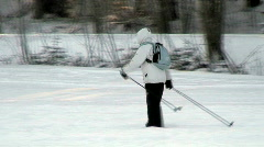 Woman in cross-country skiing Stock Footage