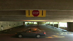 Stop Sign in a Parking Garage Stock Footage