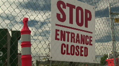 Stop Entrance Closed Sign at Construction Zone Stock Footage