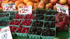 Fresh Raspberries, Blueberries & Blackberries Berries For Sale at Farmers Market Stock Footage