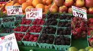 Fresh Raspberries, Blueberries & Blackberries Berries For Sale at Farmers Market Stock Footage