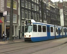 Trams in Amsterdam - stock footage