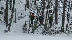 Men relay in winter Stock Footage