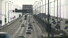 Cars are travelling over large multi-lane bridge (High Definition) - stock footage