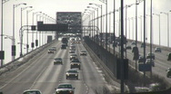 Stock Video Footage of Cars are travelling over large multi-lane bridge (High Definition)