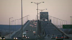 Cars are travelling over large multi-lane bridge (High Definition) Stock Footage