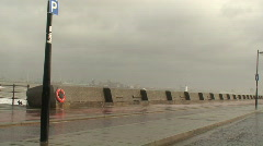 Waves washing over sea wall with sound. HD 1080i Stock Footage