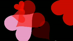 Large hearts are busily moving around the screen (Looping, High Definition 1080p Stock Footage