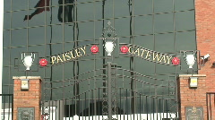 bob paisley memorial gates at liverpool football club - stock footage