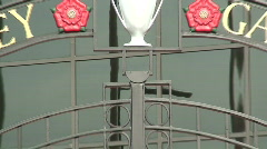 Zoom out of bob paisley memorial gates,liverpool football club Stock Footage