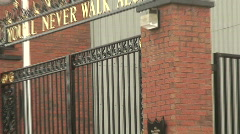 Bill Shankly memorial gates and Hillsborough memorial Stock Footage