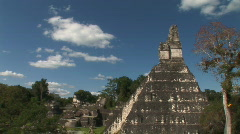 Tikal temple and grand courtyard Stock Footage