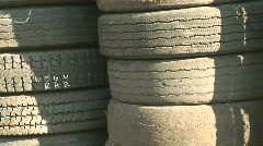 Stack of Old, Used, Worn Rubber Tires Stock Footage