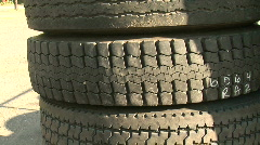 Tower of Old, Used Tires Stock Footage